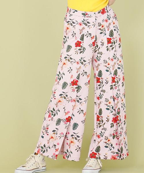 【Little sunny bite(リトルサニーバイト)】【予約販売4月入荷予定】little sunny bite ×Clap Clap hibiscus print pants パンツ(LSB-LPT-160L)