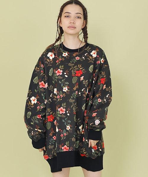 【Little sunny bite(リトルサニーバイト)】【予約販売4月入荷予定】little sunny bite × Clap Clap : hibiscus print big sweater(LSB-LTOP-159L)