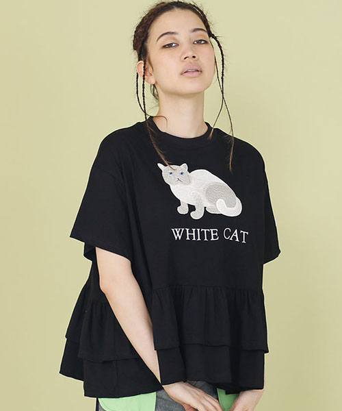 【Little sunny bite(リトルサニーバイト)】【予約販売4月入荷予定】little sunny bite × Clap Clap : Stiched frill tee Tシャツ(LSB-LTOP-156L)