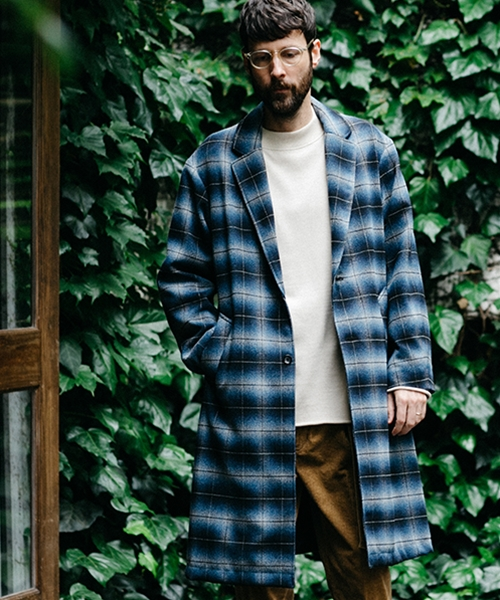 【MROLIVE(ミスターオリーブ)】TECH TWEED CHECK -WIDE SILHOUTTE RELAX CHESTER COAT コート(M-19347)