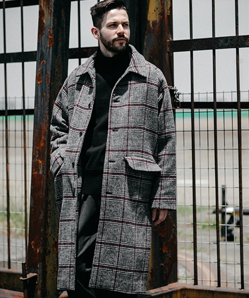 【MROLIVE(ミスターオリーブ)】SUPER 100s CHECK CLOTH -BIG SILHOUTTE LONG COAT コート(M-19371)