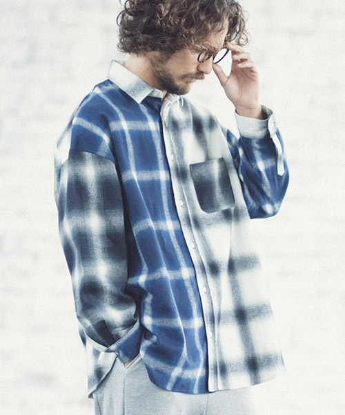 【ANGENEHM(アンゲネーム)】Ombre Check Crazy Over Size Shirts (MADE IN JAPAN) シャツ(ANG-014)
