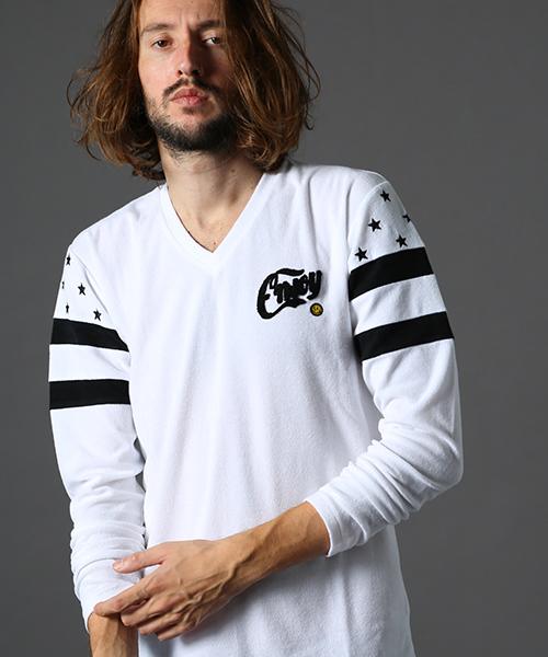 【STUD MUFFIN(スタッドマフィン)】TCパイル サガラ刺繍 スターボーダー VネックL-Sシャツ(014-02195)