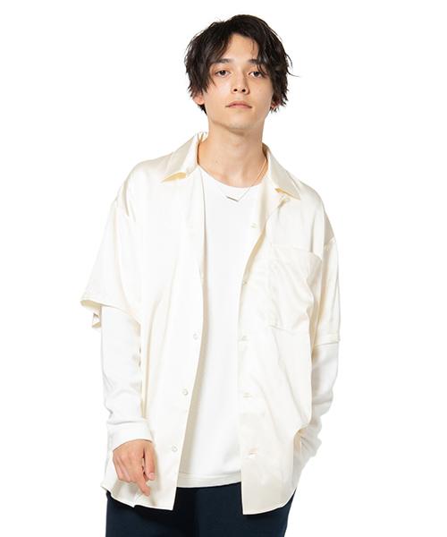 【glamb(グラム)】【予約販売5月上旬~中旬入荷】Open collar silk SH -オープンカラーシルクシャツ(GB0120-SH07)