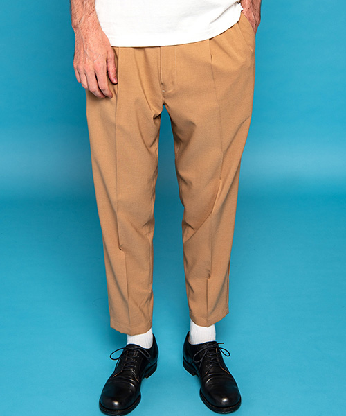 【MROLIVE(ミスターオリーブ)】CLASSIC OX POLYESTER -ONE PLEATS WIDE TAPERED EASY PANTS パンツ(M-20133)