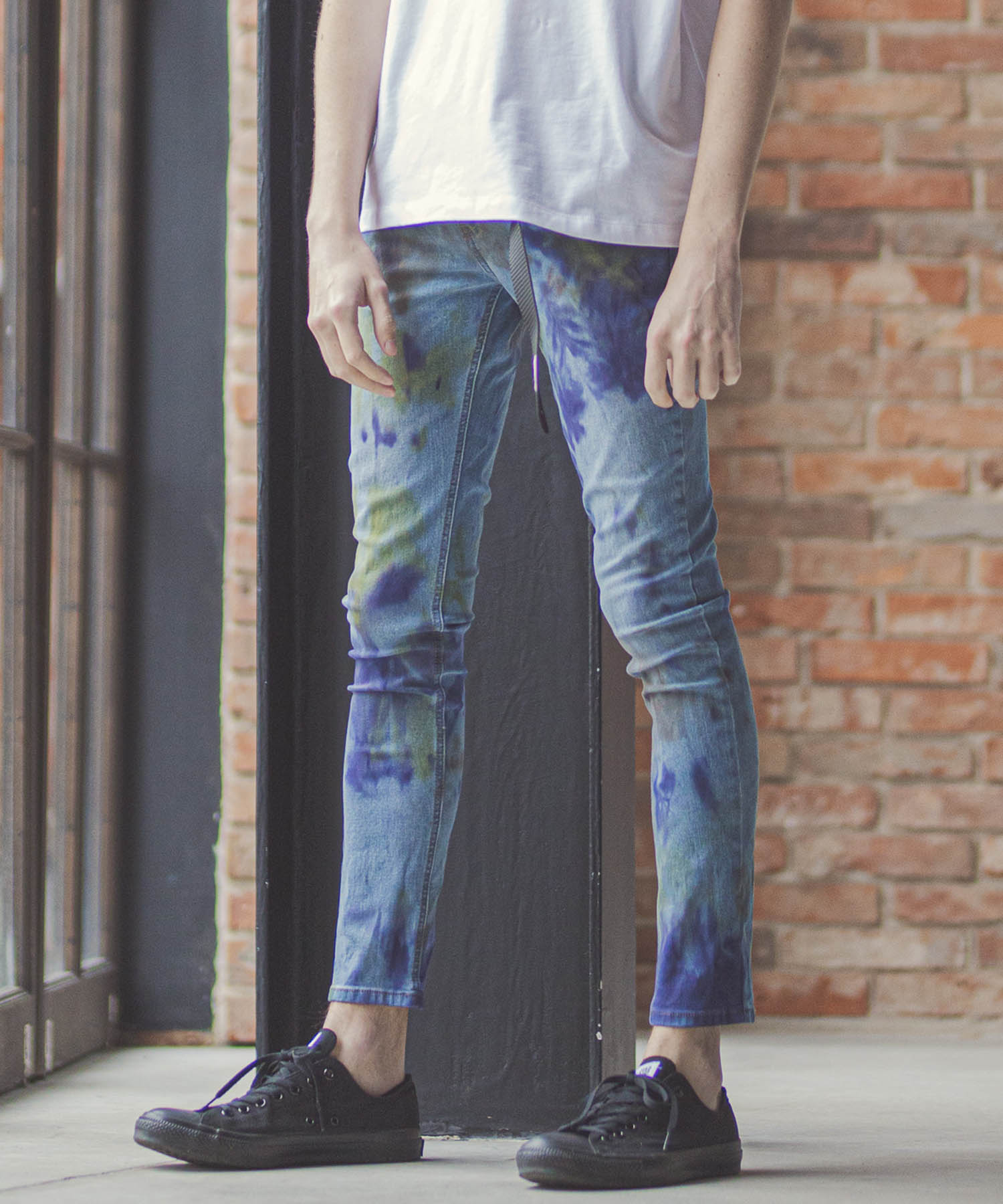 【GLIMCLAP(グリムクラップ)】Marble dye Stretch denim Pants スキニーデニムパンツ(014gls-ca)