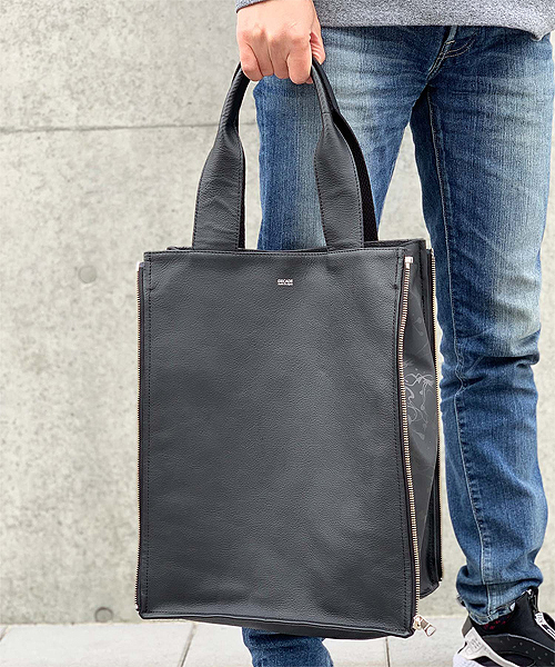 【DECADE(ディケイド)】【予約販売ご注文から1週間後出荷】Waterproof Cow Leather Side Zip Tote Bag バッグ(DCD-01230)