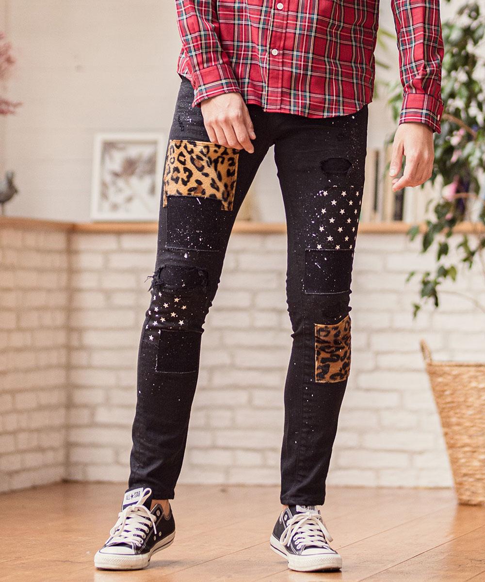 【OVERDESIGN(オーバーデザイン)】CAMBIO別注 OVERDESIGN Patchwork Stretch Black Denim Pants デニムパンツ(P20010598PT)