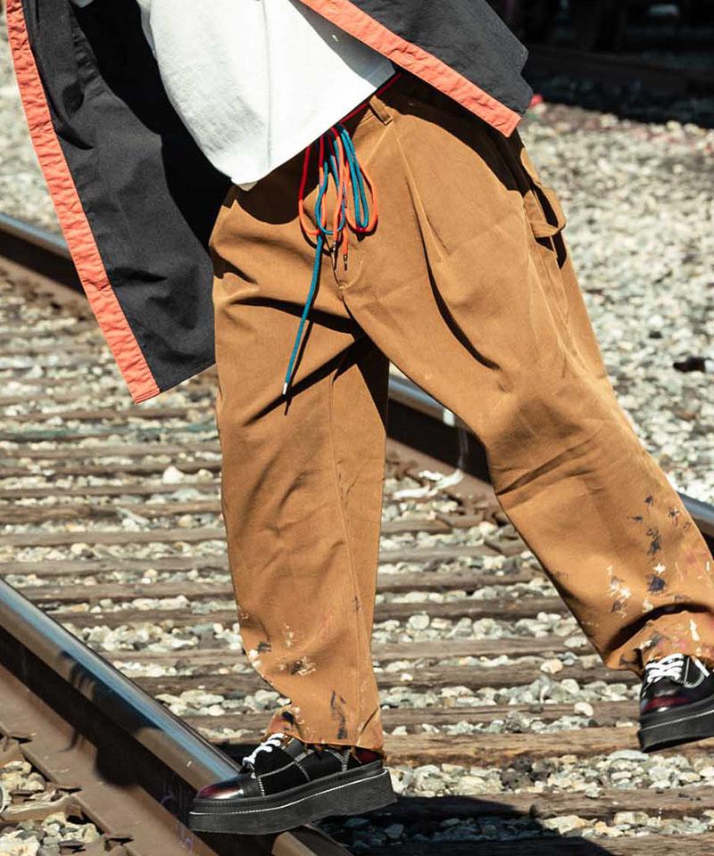 【glamb(グラム)】【予約販売8月下旬~9月上旬入荷】Paint wide chino pants-ペイントワイドチノパンツ(GB0220-P05)