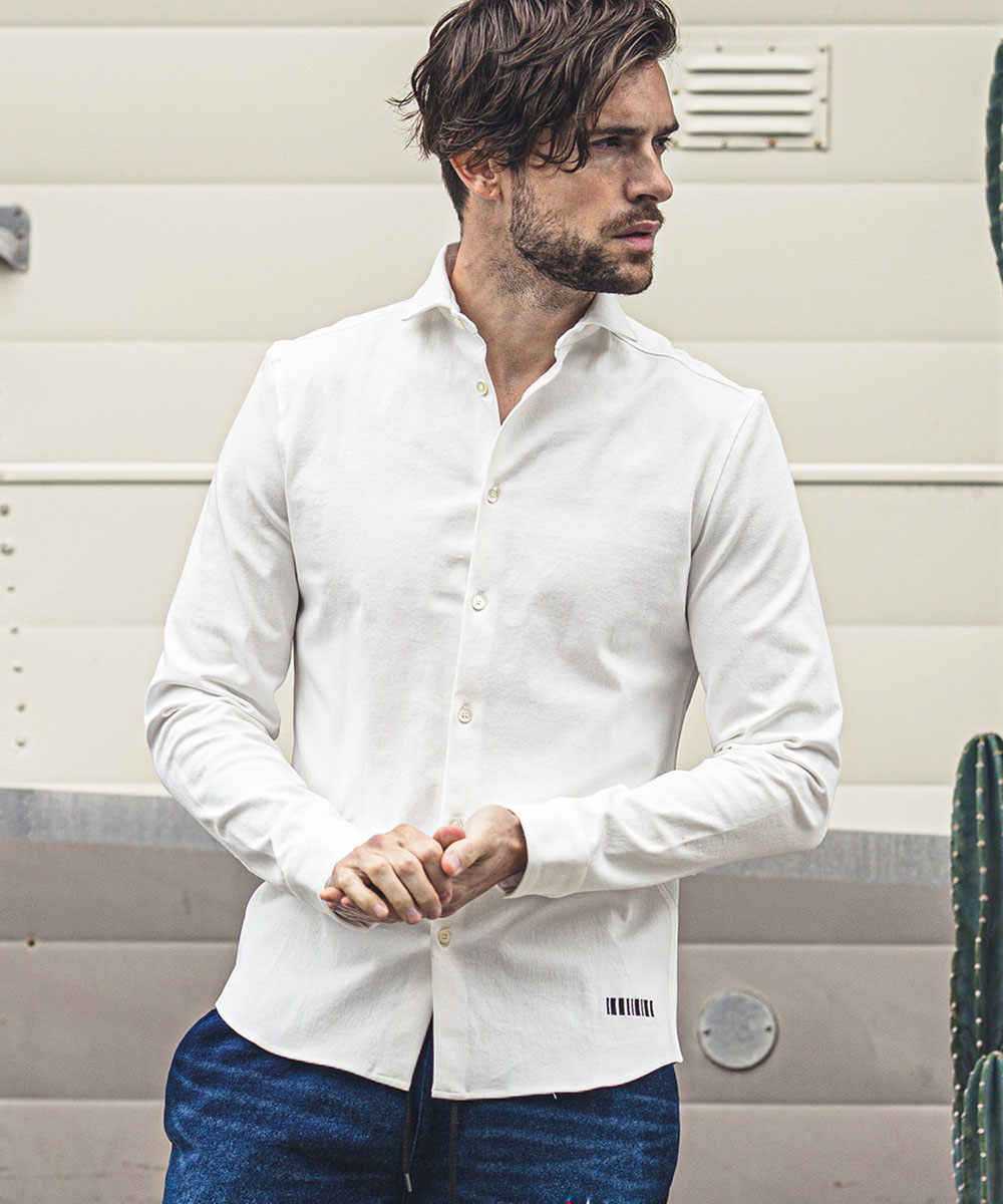 【felkod(フィルコッド)】【予約販売9月中旬~下旬】Stretch Horizontal Collar Shirt(F20W180)