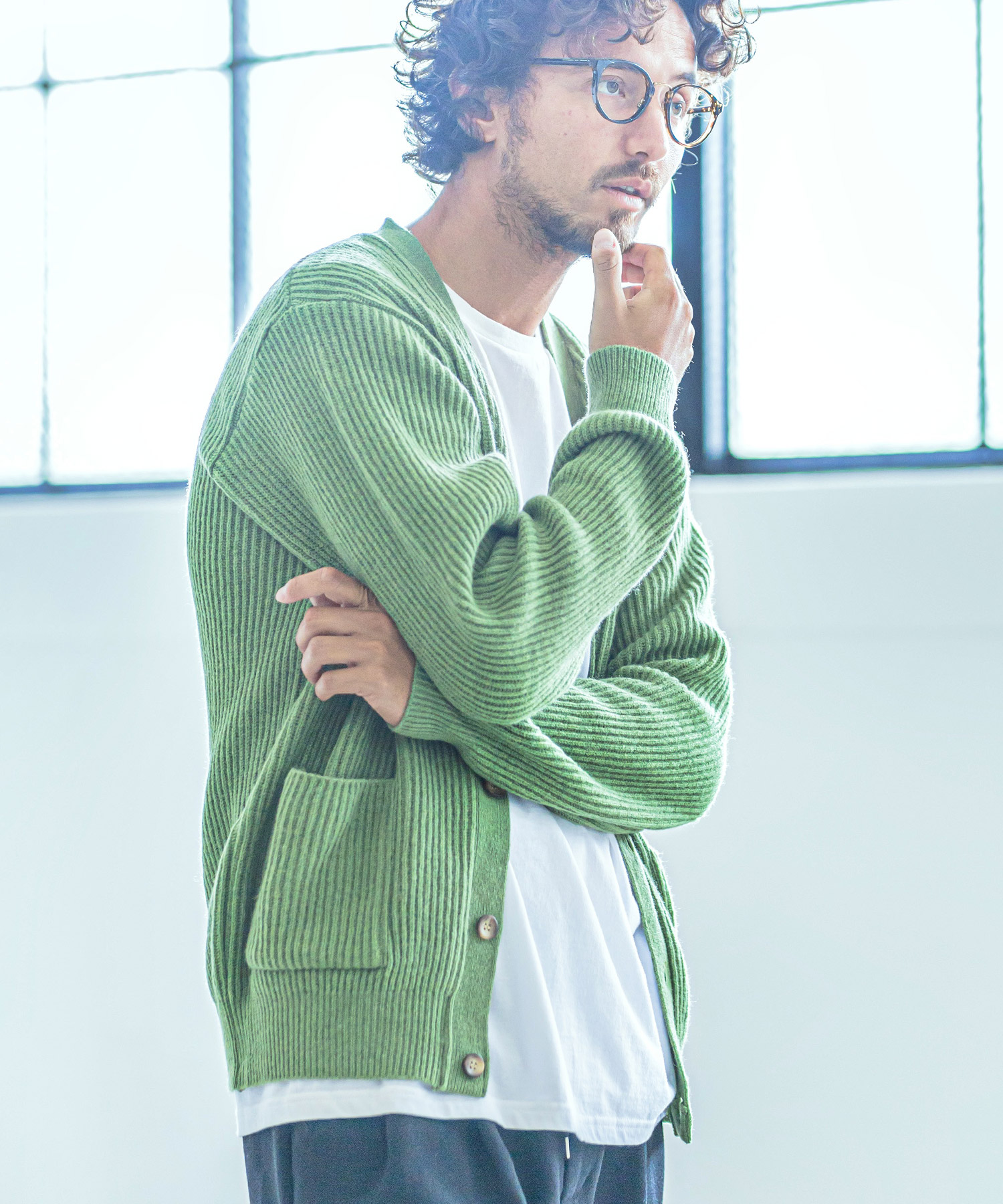 【ANGENEHM(アンゲネーム)】【予約販売10月中旬~下旬入荷】Wall Thickness Wool Knit Cardigan(MADE IN JAPAN) カーディガン