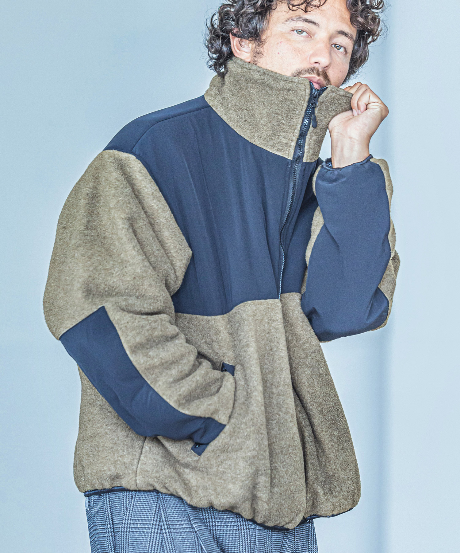 【ANGENEHM(アンゲネーム)】【予約販売9月下旬~10月上旬入荷】Switch Fleece Over Size Blouson(MADE IN JAPAN) ブルゾン(2034-309AN)