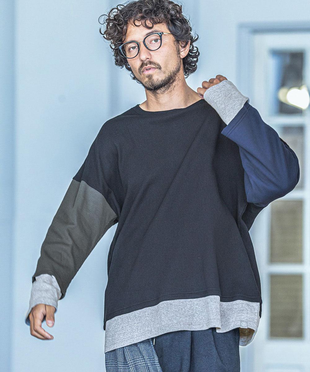 【ANGENEHM(アンゲネーム)】【予約販売9月中旬~下旬入荷】Crazy Sleeve Fake Layered Long Sleeve Cut sew(MADE IN JAPAN) カットソー(ANG-047)
