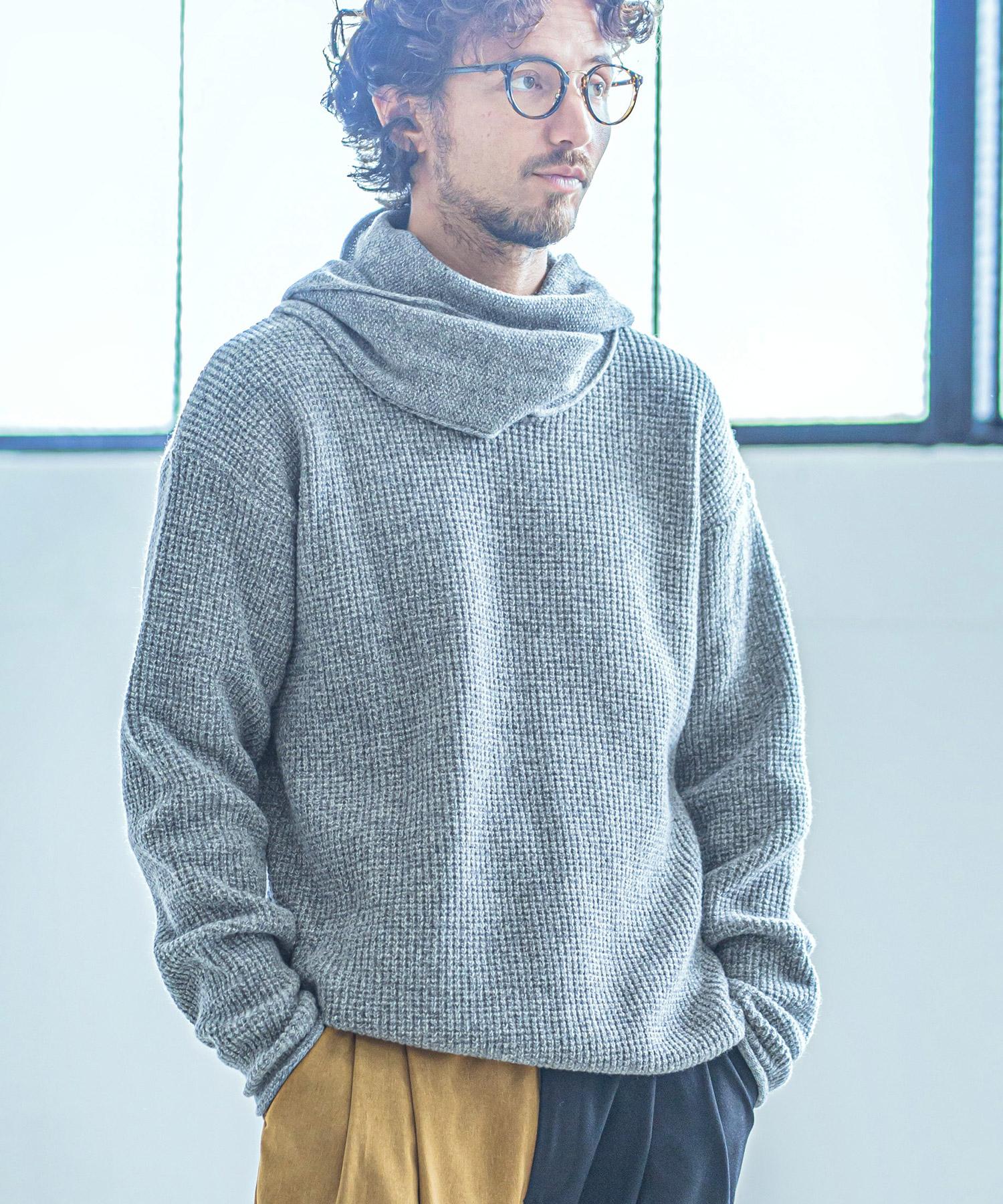 【ANGENEHM(アンゲネーム)】【予約販売10月中旬~下旬入荷】Stole Neck Knit Pullover (MADE IN JAPAN) プルオーバー