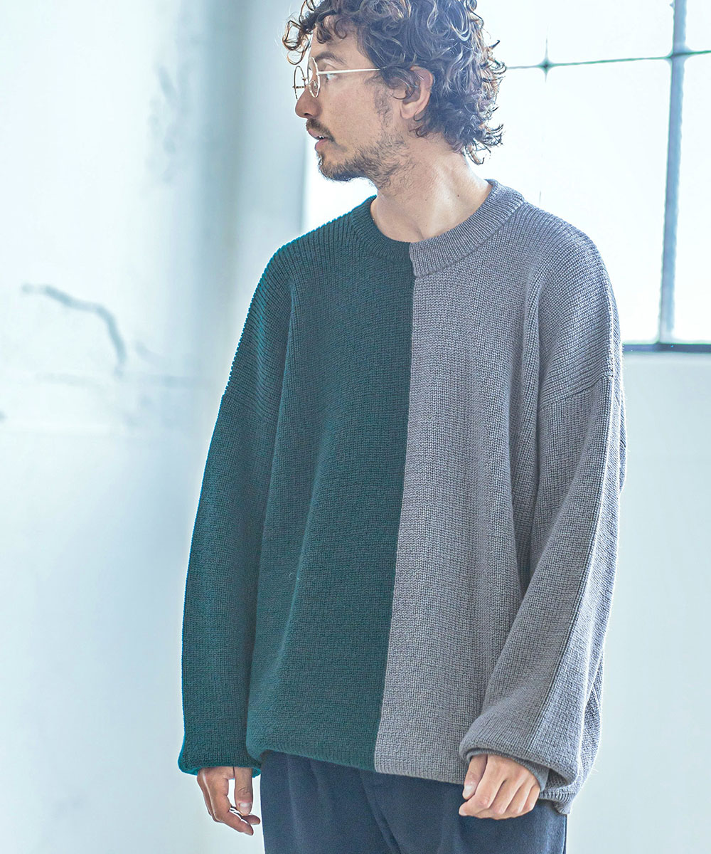 【ANGENEHM(アンゲネーム)】【予約販売9月中旬~下旬入荷】Center Switch Knit Pullover (MADE IN JAPAN)(ANG20AW-002)