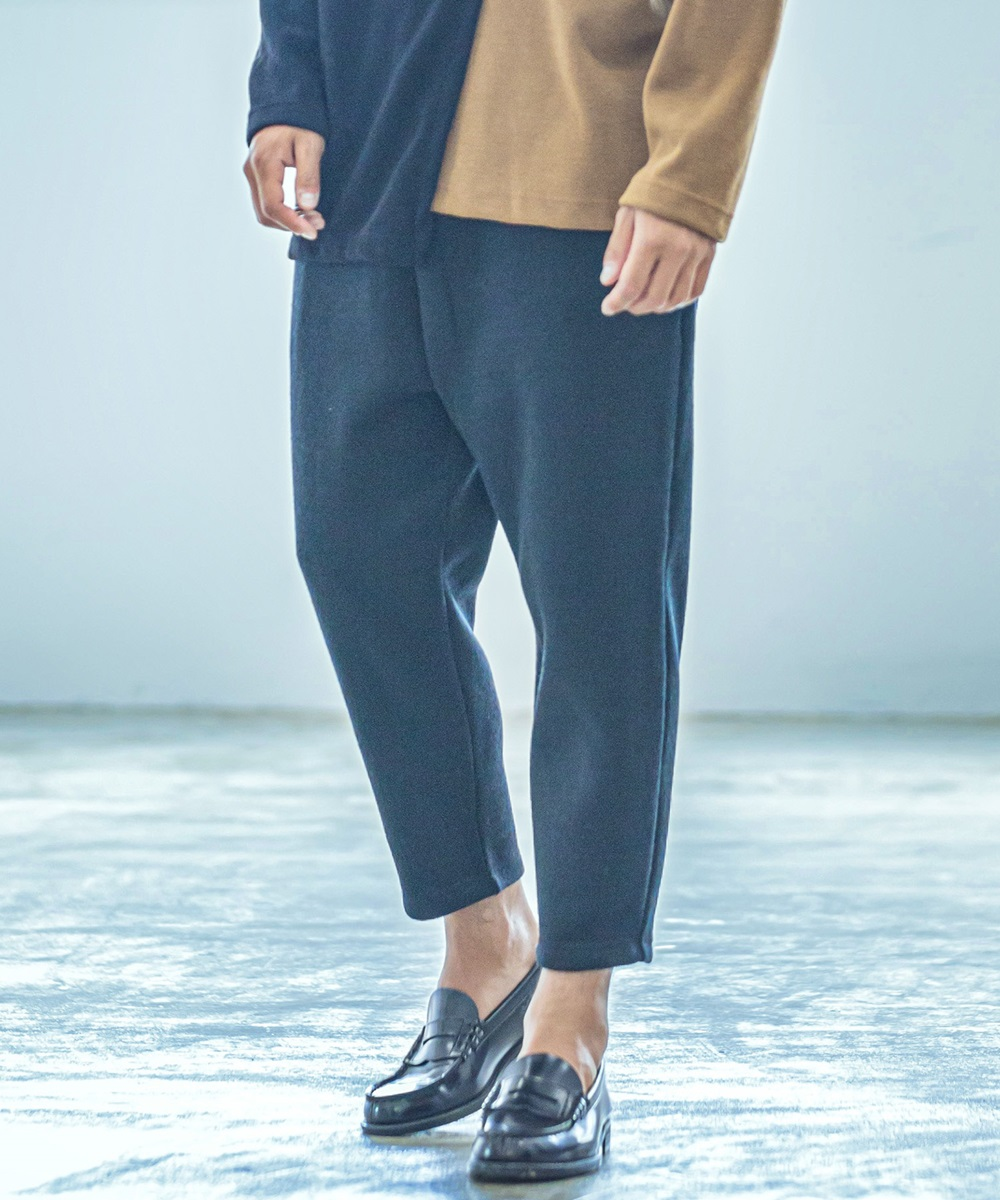 【ANGENEHM(アンゲネーム)】【予約販売9月下旬~10月上旬入荷】Back Brushed Fleece Knit Wide Tapered Easy Pants(MADE IN JAPAN) パンツ(2033-307AN)