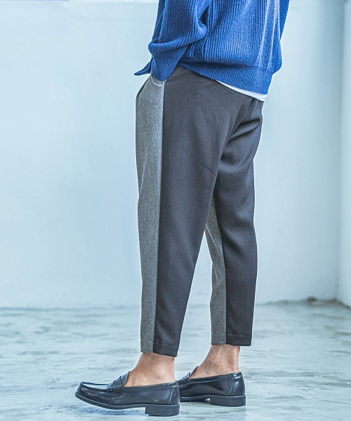 【ANGENEHM(アンゲネーム)】【予約販売9月下旬~10月上旬入荷】Front And Back Switch Herringbone Two Tuck Wide Tapered Easy Pants(MADE IN JAPAN) パンツ(2033-303AN)
