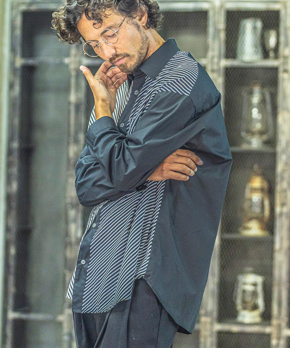 【ANGENEHM(アンゲネーム)】【予約販売9月中旬~下旬入荷】V-Stripe Over Size Cleric Shirts(MADE IN JAPAN) シャツ(ANG-043)