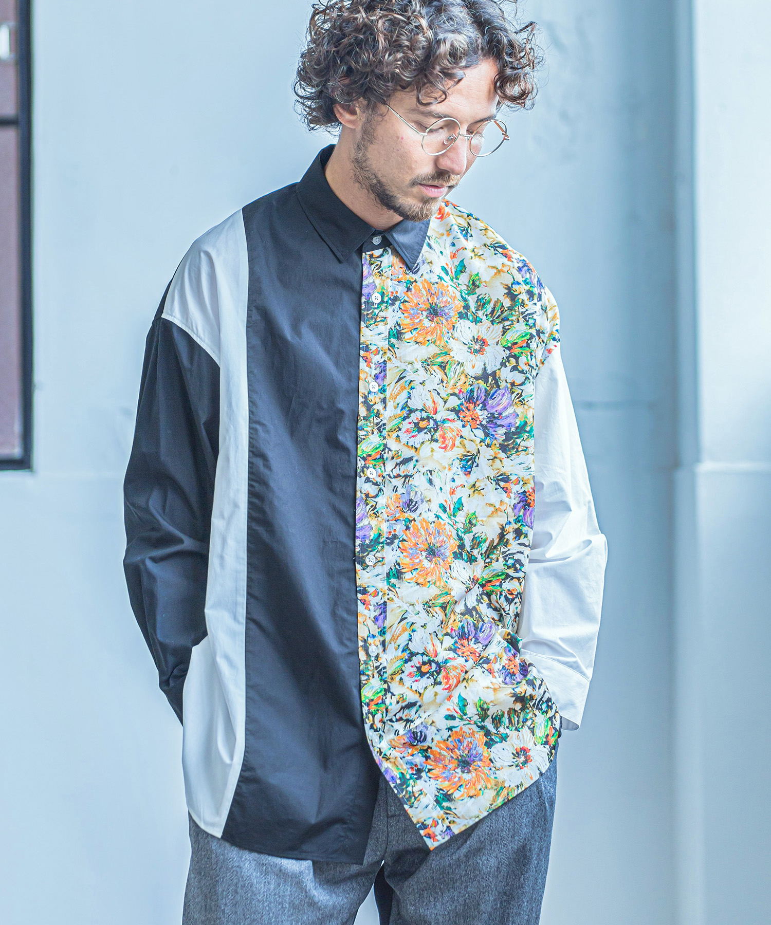 【ANGENEHM(アンゲネーム)】【予約販売9月中旬~下旬入荷】Flower Combination Crazy Over Size Shirts(MADE IN JAPAN) シャツ(ANG-041)