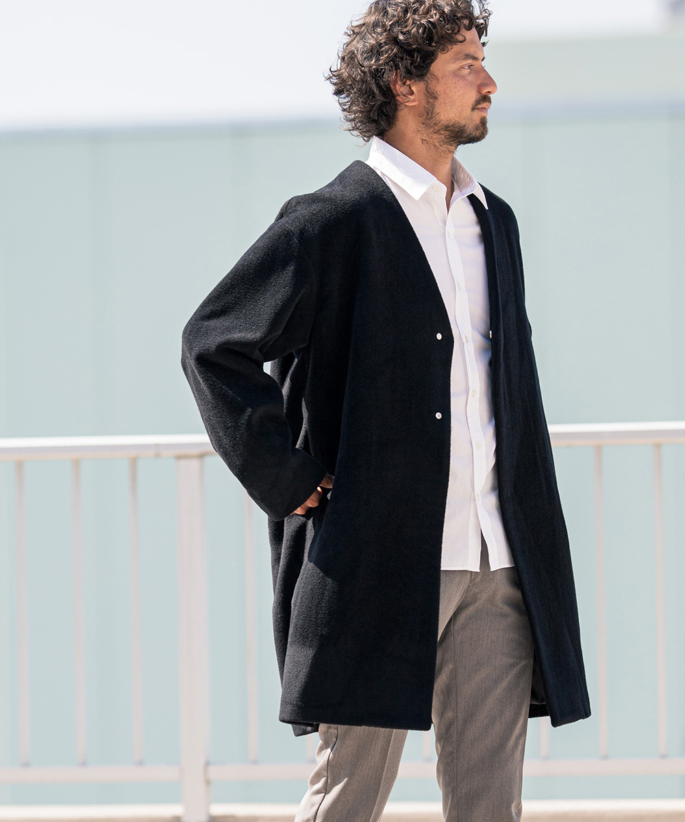 【CAMBIO(カンビオ)】【予約販売10月中旬~下旬入荷】Wool Mosser Loose No Collor Coat コート