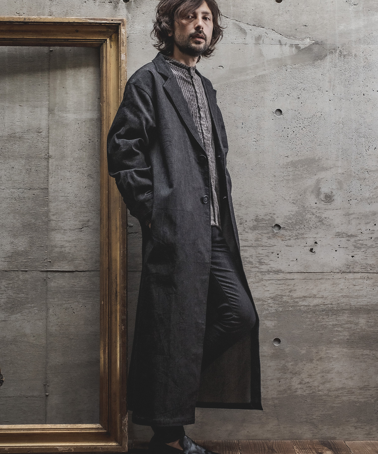 【d3d5】【予約販売9月下旬~10月上旬入荷】デニムロングチェスター コート(d3d5-5031)