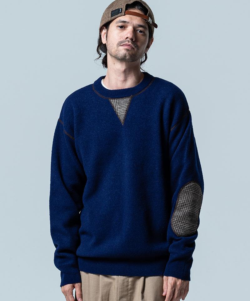 【glamb(グラム)】【予約販売12月下旬~1月上旬入荷】Elbow patch knit エルボーパッチニット(GB0320-KNT15)
