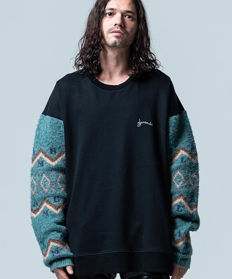 【glamb(グラム)】【予約販売11月下旬~12月上旬入荷】Knit sleeve sweat ニットスリーブスウェット(GB0320-CS11)