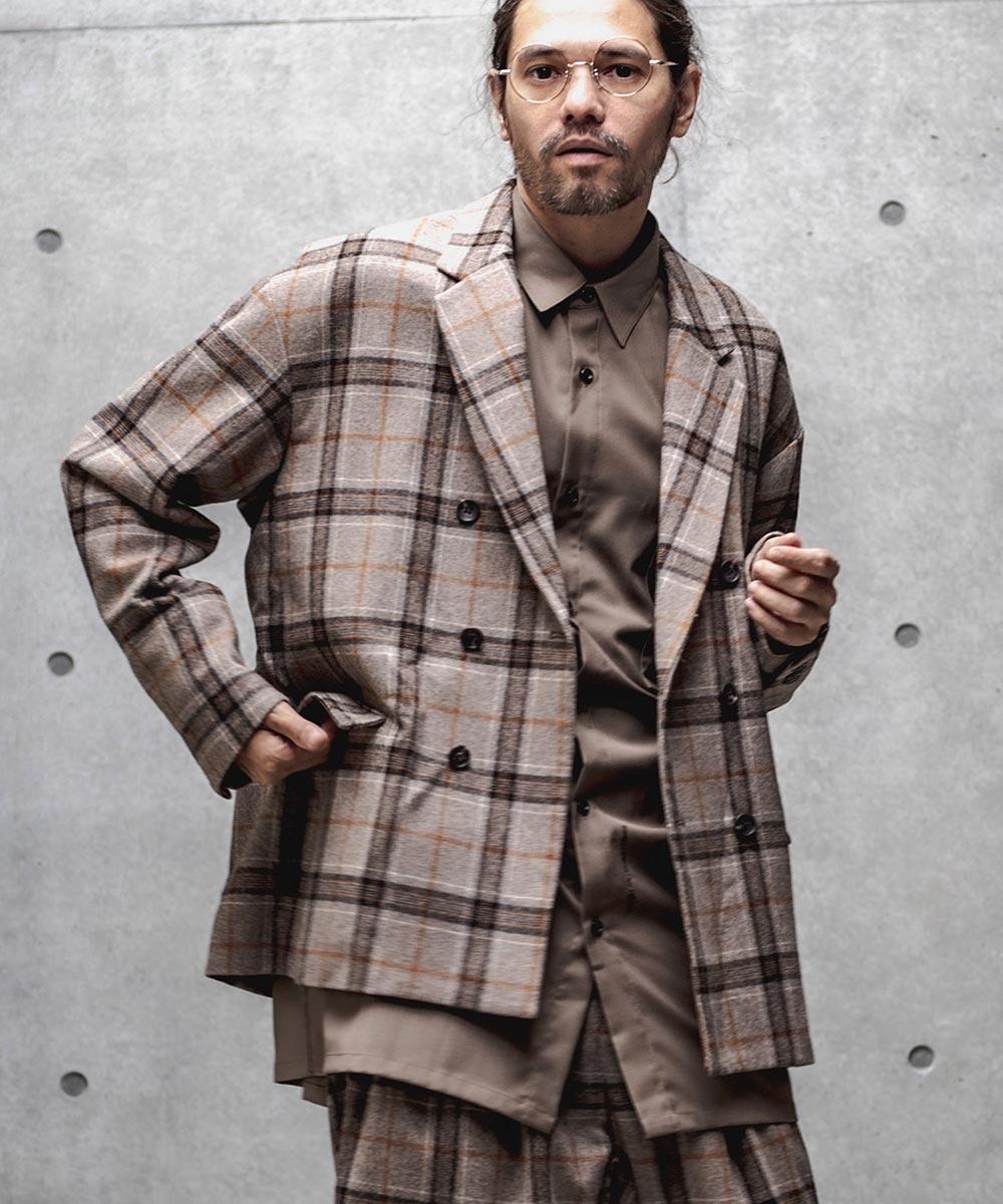 【GLIMCLAP(グリムクラップ)】【予約販売9月中旬~下旬入荷】Plaid Double Tailored Jacket ジャケット(34gla-ca)