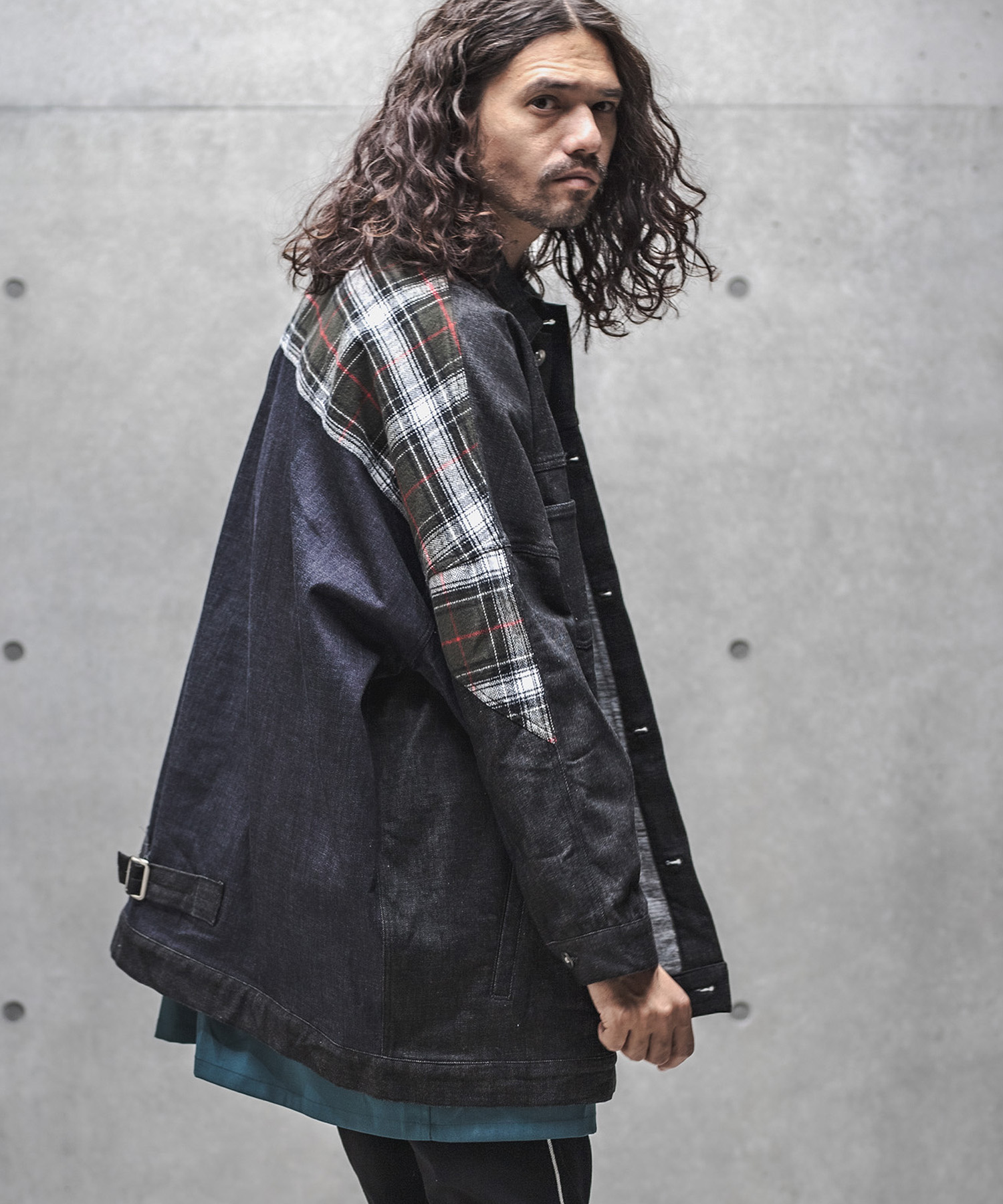 【GLIMCLAP(グリムクラップ)】【予約販売10月上旬~中旬入荷】Warm material denim & Plaid switching Jacket ジャケット(42gla-ca)