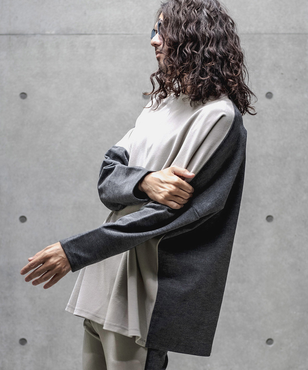 【GLIMCLAP(グリムクラップ)】【予約販売10月上旬~中旬入荷】Napping material Switching color scheme Loose silhouette pullover プルオーバー(51gla-ca)
