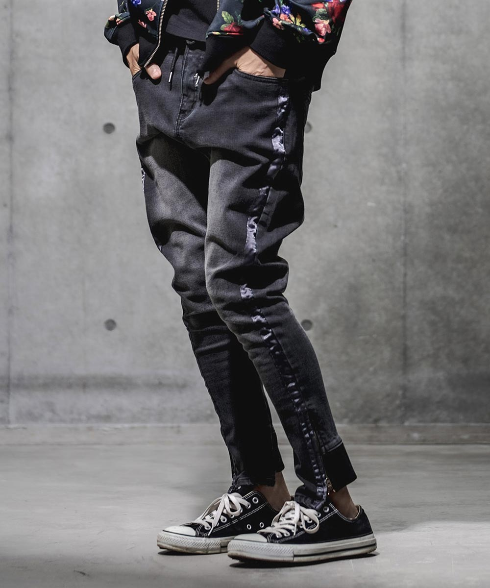 【GLIMCLAP(グリムクラップ)】【予約販売10月上旬~中旬入荷】Warm material denim Satin tape design pants パンツ(36gla-ca)