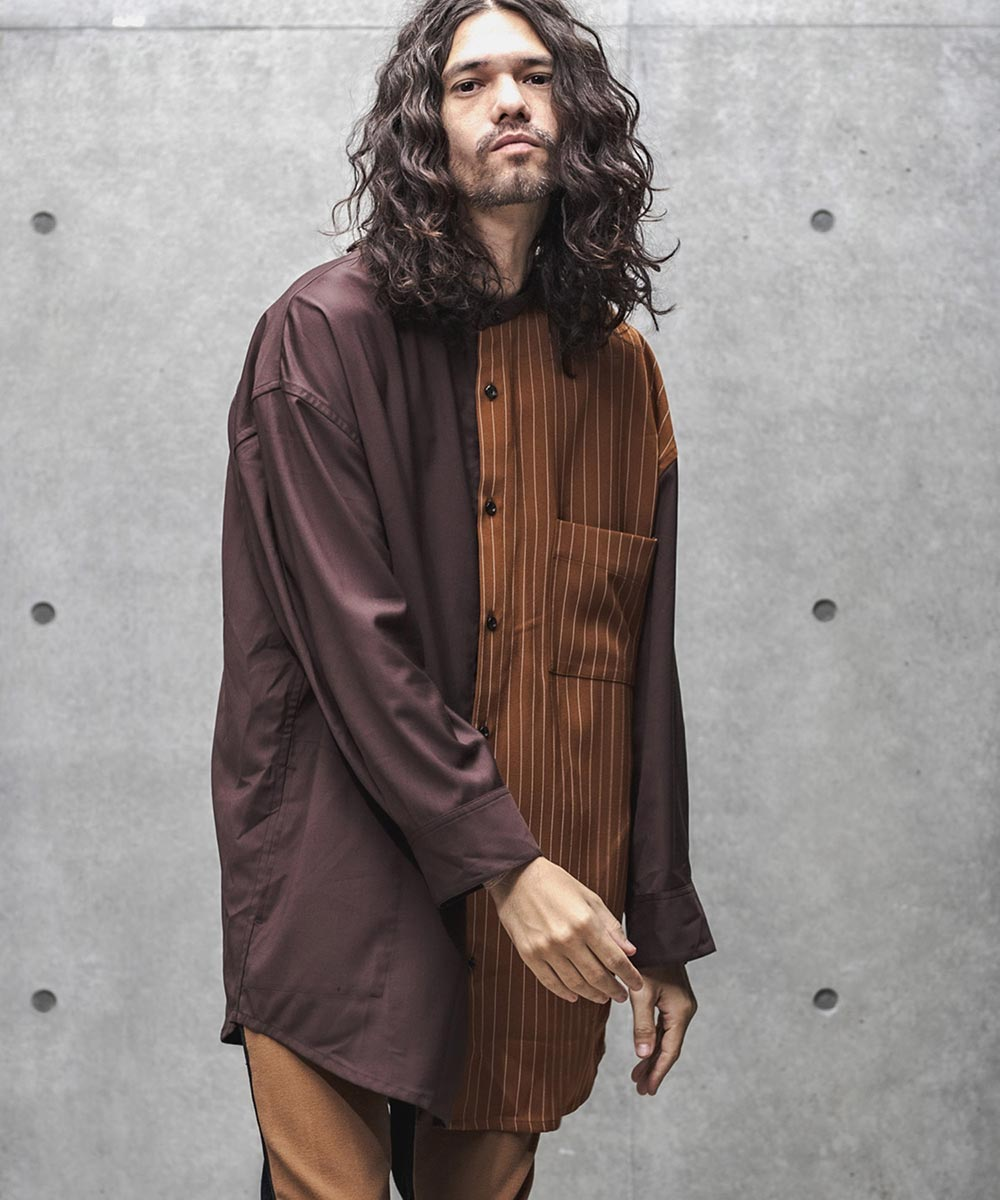 【GLIMCLAP(グリムクラップ)】【予約販売8月中旬~下旬入荷】Asymmetric design Loose silhouette Long sleeve shirt シャツ(30gla-ca)