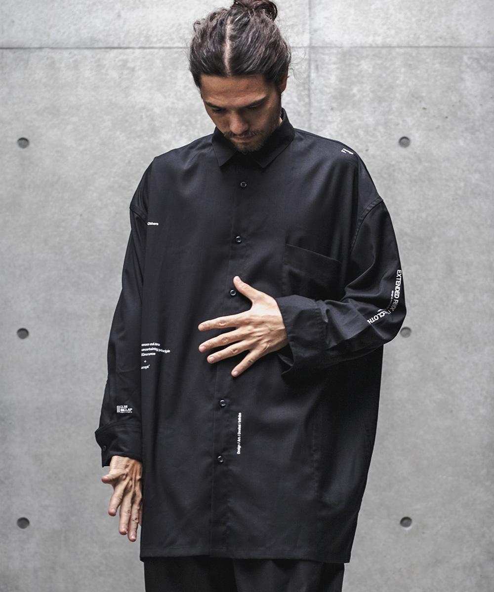 【GLIMCLAP(グリムクラップ)】【予約販売8月中旬~下旬入荷】Minimal print design Loose silhouette Long sleeve shirt シャツ(31gls-ca)
