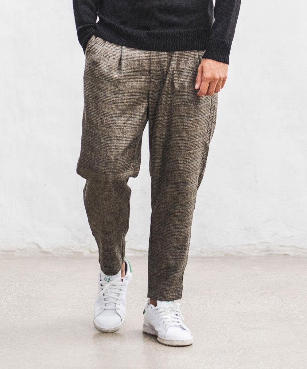 【CAMBIO(カンビオ)】【予約販売10月上旬~中旬入荷】TC Check Tuck Tapered Pants パンツ