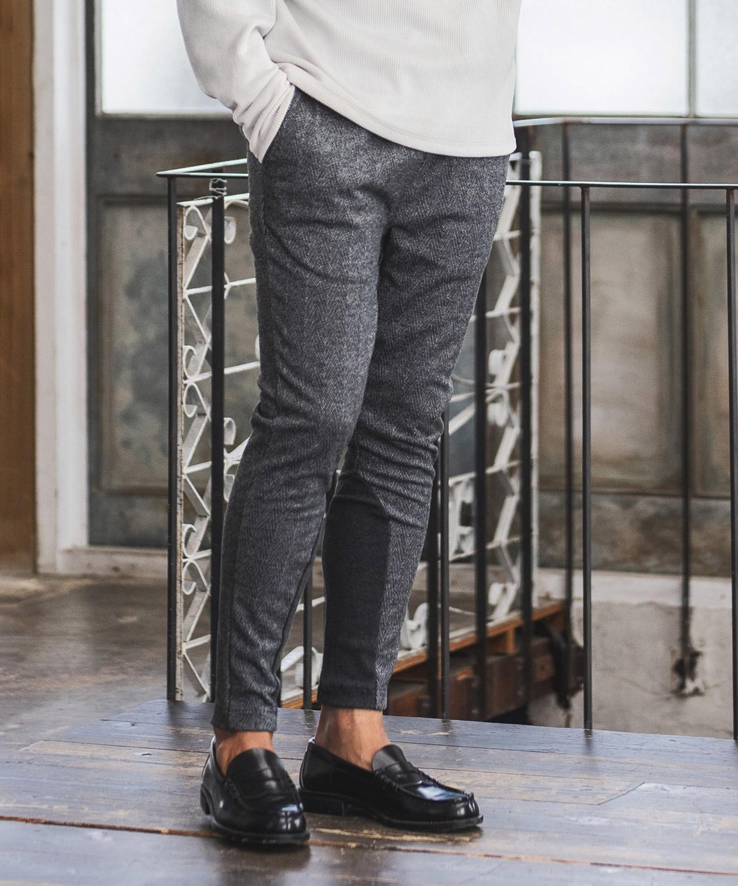 【CAMBIO(カンビオ)】【予約販売10月中旬~下旬入荷】Ponti Herringbone Jacquard Hem Rib Pants パンツ