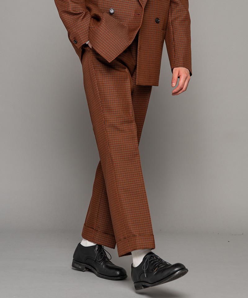 【MROLIVE(ミスターオリーブ)】【予約販売9月上旬~中旬入荷】VALENCIA CHECK PATTERN -ONE PLEATS STA-PREST STRAIGHT PANTS ストレートパンツ(M-20307)