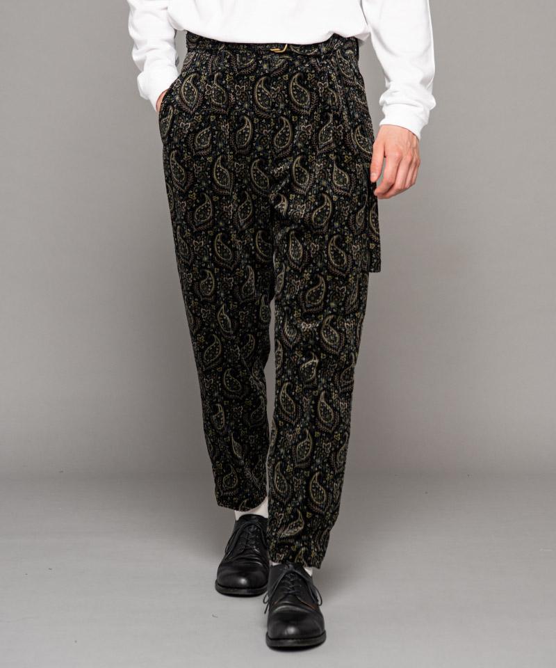 【MROLIVE(ミスターオリーブ)】【予約販売9月下旬~10月上旬入荷】PAISLEY PRINT CORDUROY -BELTED WIDE TAPERED PANTS テーパードパンツ(M-20330)
