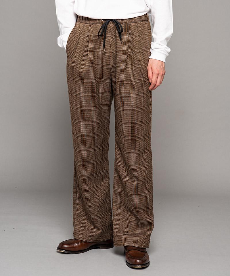 【MROLIVE(ミスターオリーブ)】【予約販売10月上旬~中旬入荷】WOOLY GLEN CHECK -TWO-TUCK WIDE EASY PANTS ワイドパンツ(M-20339)