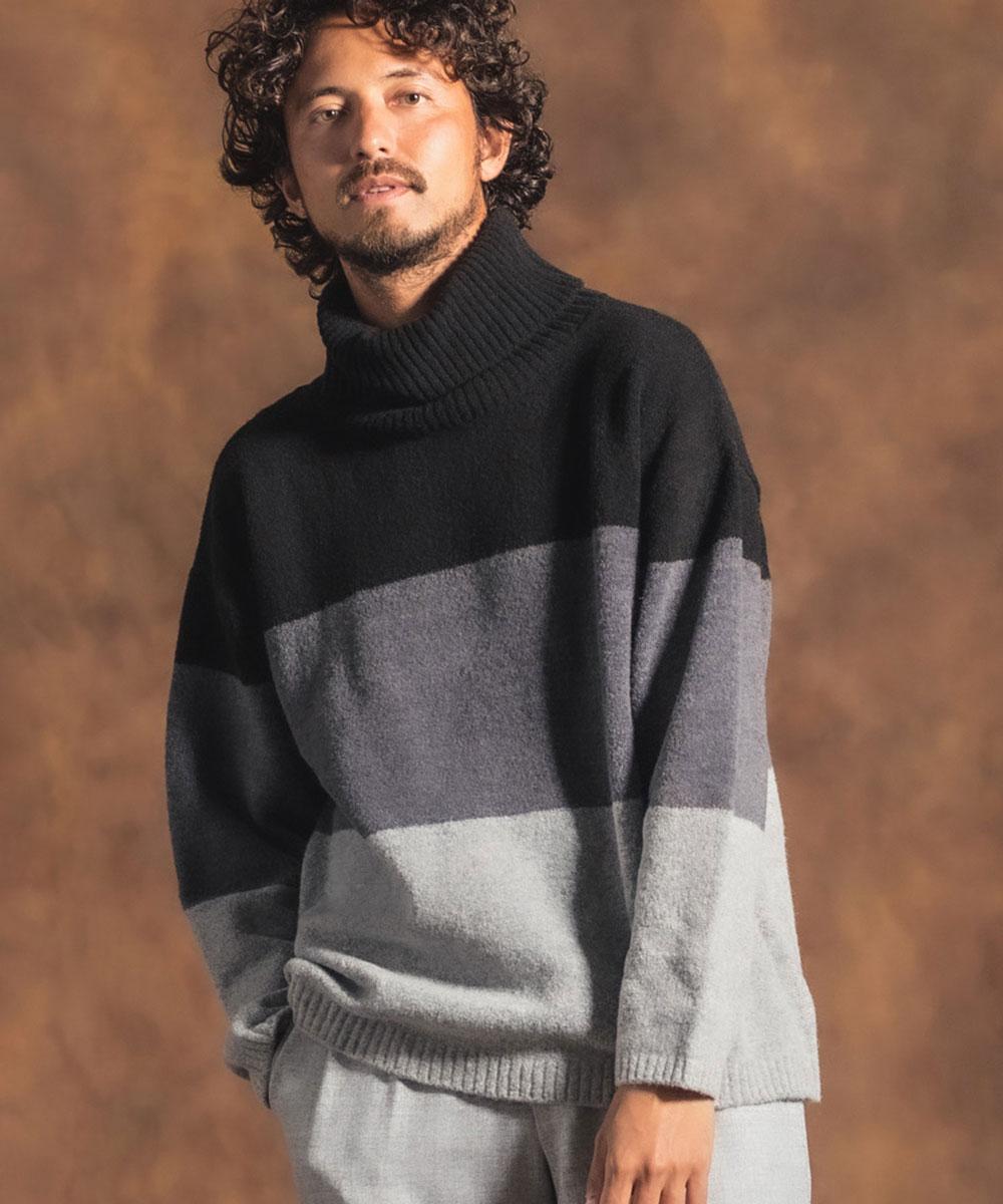 【Jih Nunc(ジーヌンク)】【予約販売10月下旬~11月上旬入荷】3トーン配色ウールタートルニット(JIH-K0171)