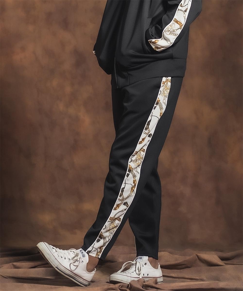【Jih Nunc(ジーヌンク)】【予約販売10月中旬~下旬入荷】チェーン柄ライントラックテーパードパンツ(JIH-K0184)