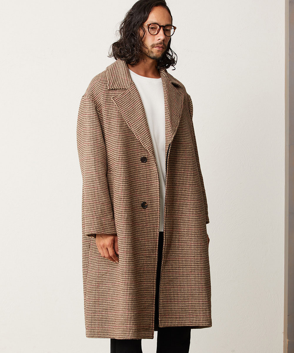 【CAMBIO(カンビオ)】【予約販売10月末~11月上旬入荷】Over Size Silhouette Check Chester Coat チェスターコート