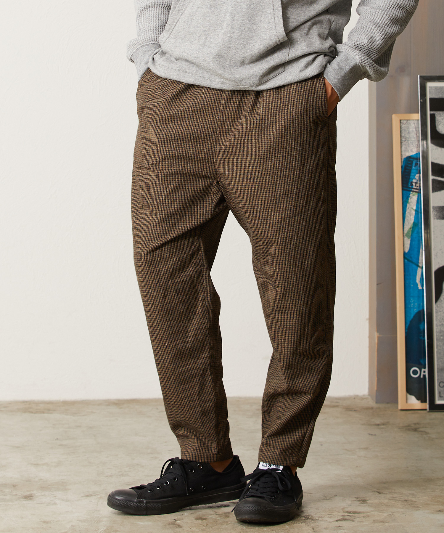 【CAMBIO(カンビオ)】【予約販売10月中旬~下旬入荷】Monotone Gun Club Check Sarrouel Tight Tapered Pants テーパードパンツ