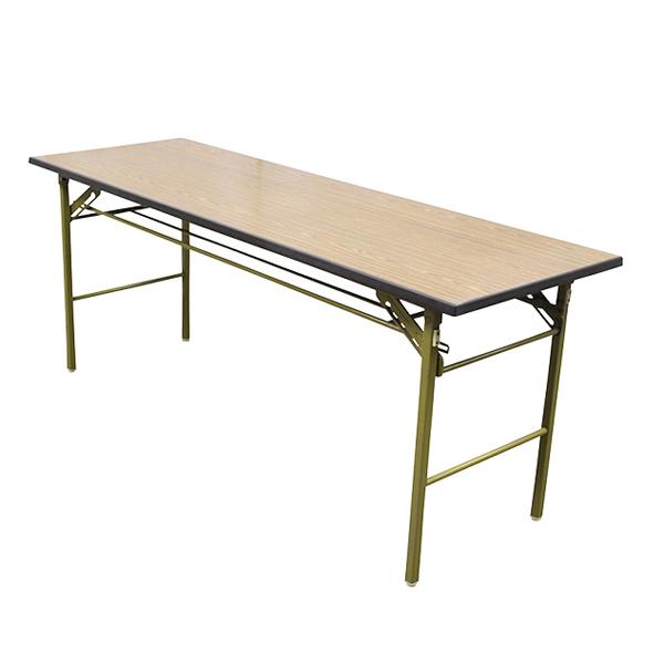 【中古】会議テーブル 折りたたみ 木目調 幅1800×奥行600mm 5台セット 完成品 設置込 地域限定送料無料