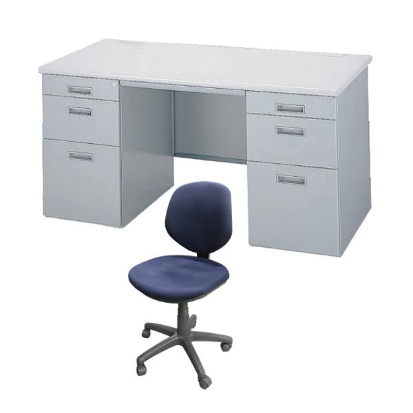 【中古】オフィスデスク チェア セット 1人用 両袖机 鍵付き スチール 完成品 設置込 地域限定送料無料
