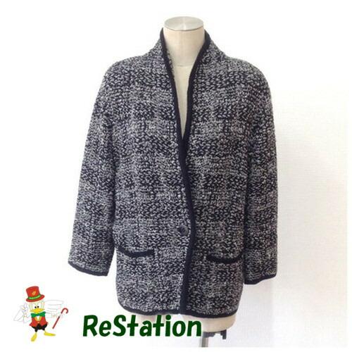 【中古】ビスケー BC レディース ツイードジャケット 7分袖 ブラック系 サイズ9