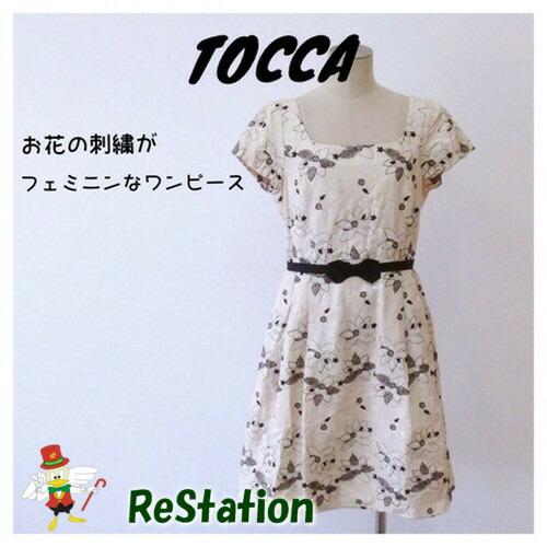 【中古】TOCCA トッカ レディース ワンピース 半袖 花柄 刺繍 ベージュ サイズ2