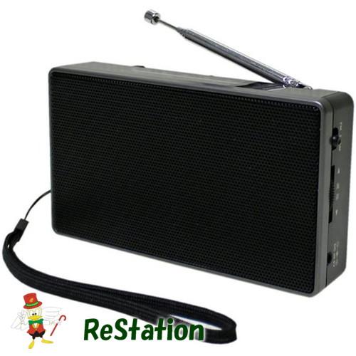 未使用品 WINTECH ストラップ付きハンディラジオ ブラック テレビで話題 お洒落 FMワイドバンド対応 HR-E90