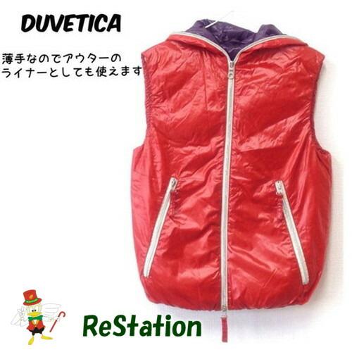 割引 中古 送料無料 デュベティカ DUVETICA ダウンベスト 薄手 上質 レッド メンズ サイズ44