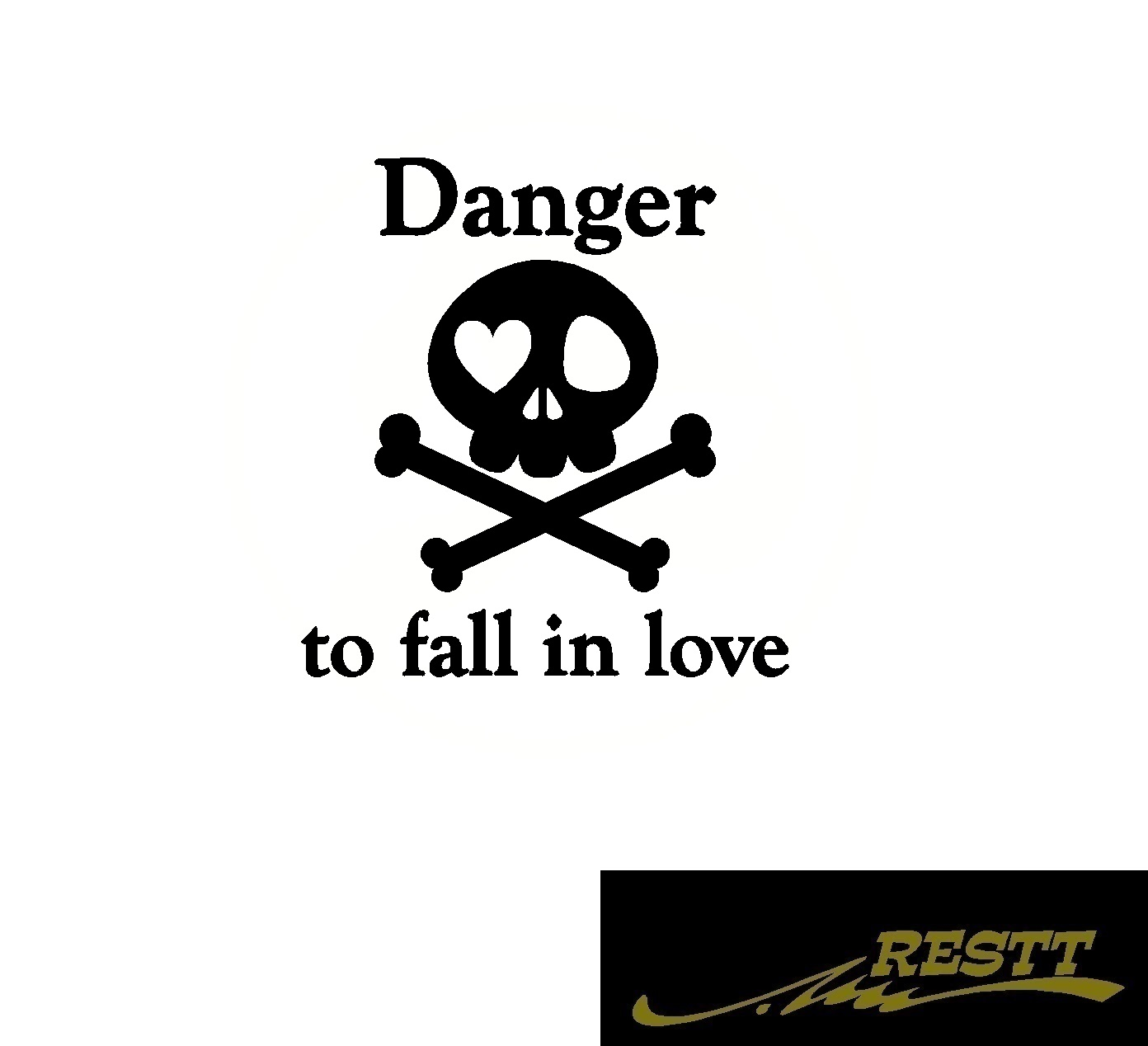 豊富なカラー20色から作成ドレスアップ ステッカー ドクロ Danger to fall 店 in love 危険 恋に落ちる ロゴ カッティングステッカー おしゃれ 営業車 大サイズ 落ちる 髑髏 トラック バン 文字 スカル 面白い 新色追加して再販 どくろ 恋