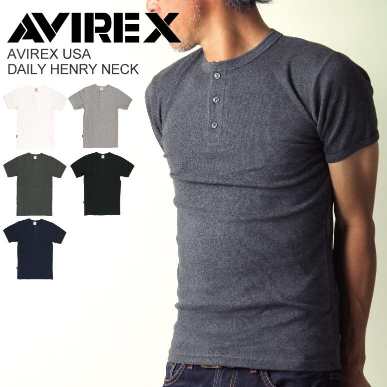 145f37b530d8b2 AVIREX(アビレックス/アヴィレックス)デイリーヘンリーネックシャツ/Tシャツ/カットソー/